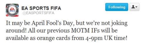 April Fool's Day MOTM Tweet