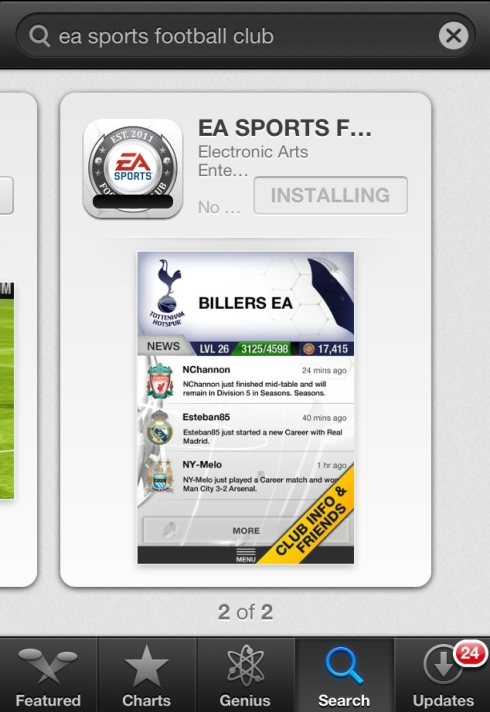 FIFA 13 iPhone App Store search