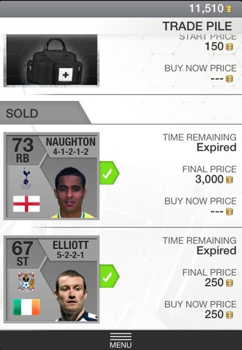 FIFA 13 iPhone Trade Pile example