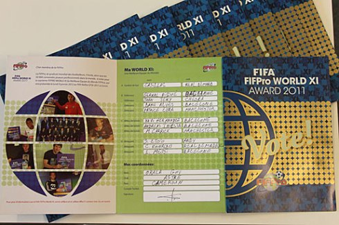 2011 World XI Ballot filled in by your average FIFPro footballer